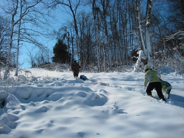 Ascending the slope where we joined some of our fellow church member-neighbors for some Sunday sledding.